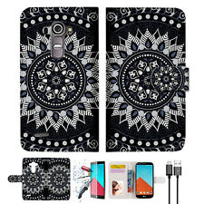 Black AZTEC TRIBAL Wallet TPU Case Cover For LG G4-- A005