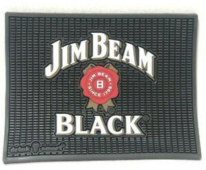 "LARGE RUBBER JIM BEAM BLACK RESTAURANT BAR RAIL BEER DRYING MAT SPILL 14x11"""