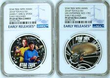 2-COIN Set 2016 Star Trek Captain James Spock USS Enterprise Silver $1 NGC PF69