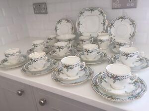 Art Deco Vintage China Tea Set Large Service 11 Teacup Trios 1930s WJS Venus