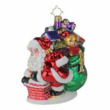 Christopher Radko Sneaking Down The Chimney Gem Glass Ornament 1020268