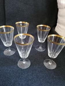 5 luxuriöse alte Wein Kristall Gläser Goldrand geschliffen hauchdünn  Art Deco