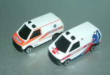 Two 1/64 Scale Ambulance Van Diecast Emergency EMS Rescue Vehicles