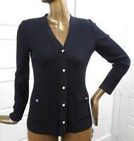 St John Collection sz P Black Ribbed Knit Cardigan Sweater Pearl Buttons USA