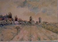 qualitätvolle aquarellierte Stiftzeichnung - südl. Landschaft TOSCANA - sign. AO