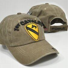 US Army 1st Cavalry Division Cav Ball Cap OEF OIF Gulf Vet Hat Desert Sand Khaki