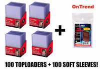 100 x Ultra Pro 35pt TopLoader +100 Card Sleeves Penny TopLoaders Top Loader