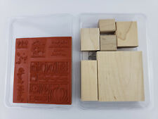 Stampin' Up Stamp Set Wood Mount THOROUGHLY THANKFUL 6 piece rubber stamps New