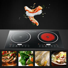 110V Electric Dual Induction Cooker Cooktop 2400W Countertop Double Burner Top