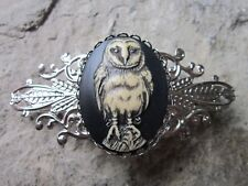 HAND PAINTED SPOOKY BARN OWL CAMEO SILVER FILIGREE BARRETTE - COSTUME- HALLOWEEN