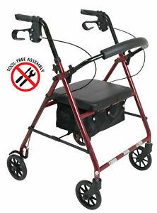 NEW Lightweight Deluxe Folding Rollator Foldable Walker With Wheels Soft Seat