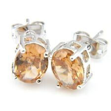 Sparking Oval Shine Champagne Morganite Gemstone Silver Stud Hook Bread Earrings
