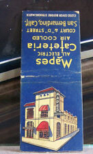 Rare Vintage Matchbook Cover M2 San Bernardino California Mapes All Electric