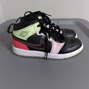Jordan 1 Mid Youth Little Kids Size 1Y Shoes Black/Green/Red Athletic Sneakers