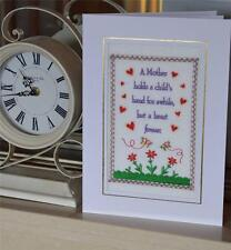 A Large new machine embroiderded hand finished mothers day card- Vintage Sampler