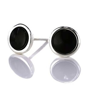 Whitby Jet and Sterling Silver Stud Earrings