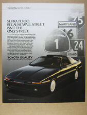1989 Toyota Supra Turbo car photo highway road signs art vintage print Ad