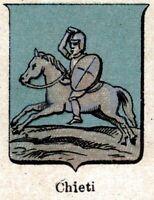 Chieti: Piccolo Stemma del 1901. Cromolitografia. Stampa Antica + Passepartout