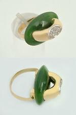 Designerring Gold 750 mit 7 Diamanten u Jade Goldring Diamantring Damenring 18kt