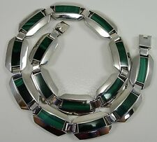 Sterling Silver Malachite Band Necklace Flat Hexagon Link Taxco Mexico 17""