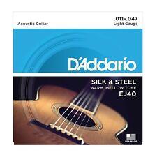 D'Addario EJ40 Silk & Steel Acoustic Folk Guitar Strings gauges 11-47