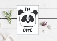 i'm cute panda greeting card birthday  5x7 inch blank monochrome black white