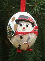 Rare Hand Painted Frosty The Snowman Hen Egg Ornament Pierced Made In Austria