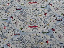 Sanderson Curtain Fabric 'Treasure Map' 2.5 METRES (250cm) Vanilla - Abracazoo