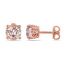 Pink Peach Morganite Stud Earrings Handmade Gallery Design 14K Rose Gold 1.00 Ct
