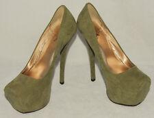 "QUPID - Sage Green - Soft Faux Suede - Platform 5 1/2"" High Heels sz 5 1/2 *Nice"