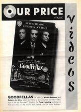 21/3/92 Pgn24 ROBERT DE NIRO IN GOODFELLAS VIDEO ADVERT 15X11""