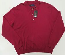 Callaway Polo Sweater XL New Merino Wool Long Sleeve Red