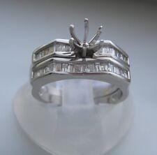 ELEGANT SEMI MOUNT 14K WHITE GOLD DIAMOND ENGAGEMENT RING BRIDAL SET 0.44 TCW