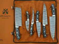 Set of 6 Chef Knives, kitchen knife, Handmade Damascus Steel Chef Knives QR-A55