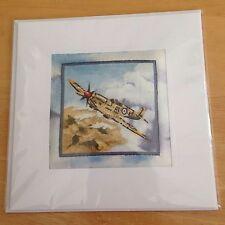 Hand Quilted Stitched Card Birthday Thank You WW2 German Focke Wolf 190 plane