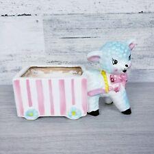 Vintage Enesco Lamb And Cart Pink and Blue Ceramic Planter Japan