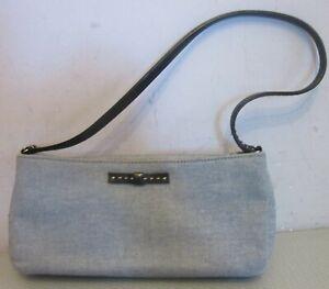 vtg KATE SPADE BLUE DENIM PURSE slim stitched black leather handle MADE IN USA