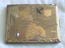 Ancien étui à cigarettes carte frontière France Allemagne *** A Voir ***