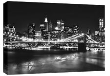 XL New York Box Canvas Art Picture Black and White Grey 113 x 80 cm