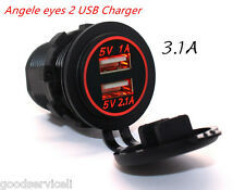 12V-24V Dual USB Car Red LED Angel Eye Ring Charging Socket Power Adapter Outlet