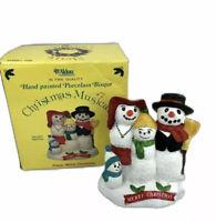 Vintage Aldon Christmas Musical Figurine Plays White Christmas Porcelain Bisque