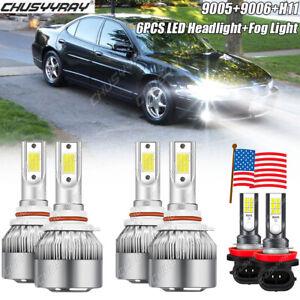 For Pontiac Grand Prix 2004-2008 6000K LED Headlights High/Low + Fog Light Bulb