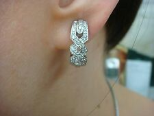 14K WHITE GOLD 0.50 CT DIAMOND DANGLE EARRINGS WITH SAFETY LOCK, 6.2 GRAMS