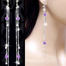 "#E125H 5.4"" long non-pierced CLIP ON EARRINGS Dangle Lavender Rose Crystal Women"