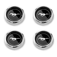 NEW SET OF 4 Mustang Magnum 500 Wheel Center Caps Black Silver Horse 1965-1973