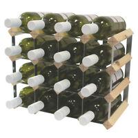 16 Bottle Fully Assembled Wooden Wine Rack - Natural Pine & Galvanised Steel