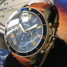 Mens Fossil Designer Watch GRANT FS5268 Blue Chronograph Brown Leather Genuine