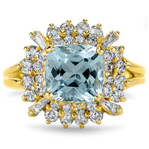 Certified 2.75cttw Aquamarine 1.40cttw Diamond 14KT Yellow Gold Ring