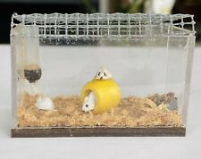 Vintage Artisan Miniature Dollhouse Pet Hamsters Food Water Cage Aquarium