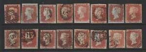 QV 1d Red Imperforate x 16. 1844 type cancellations.